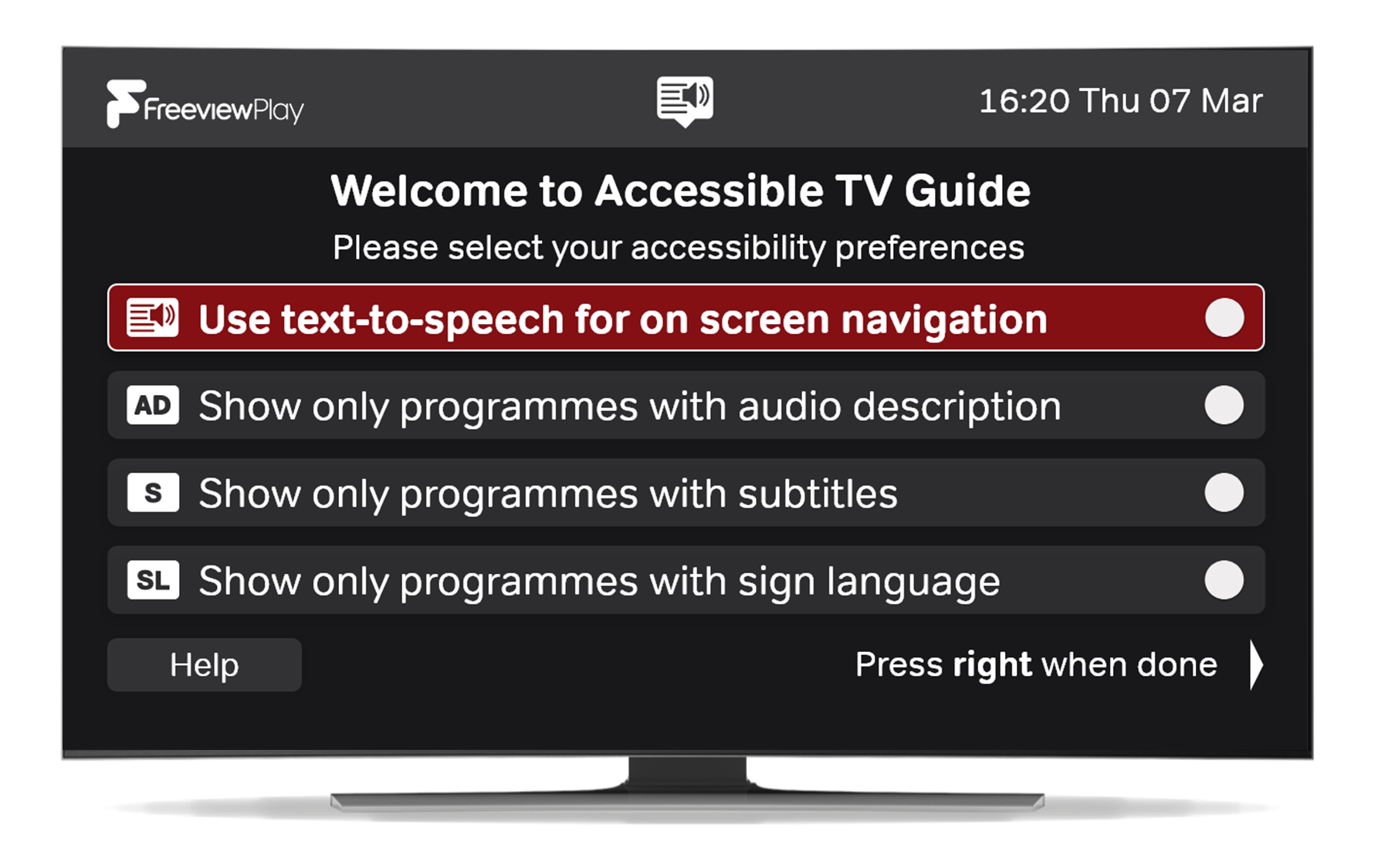 TV showing the Accessible TV guide and the options to search for TV with audio description, subtitles, and sign language