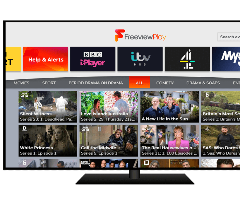 Explore Freeview Play displayed on TV screen