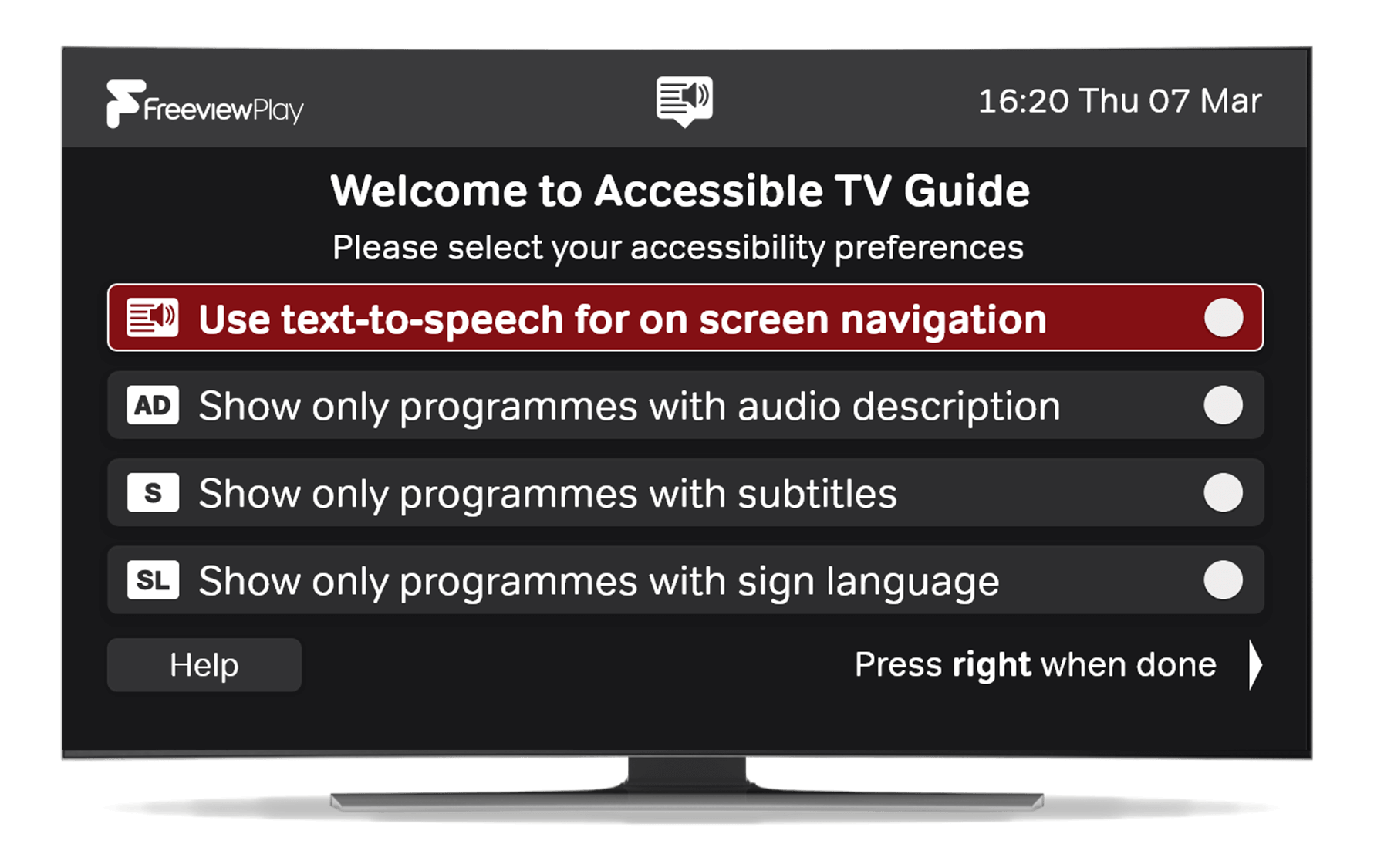 Freeview's accessible EPG