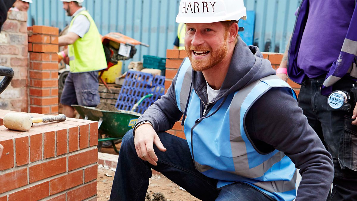 Prince Harry in a hard hat on DIY SOS