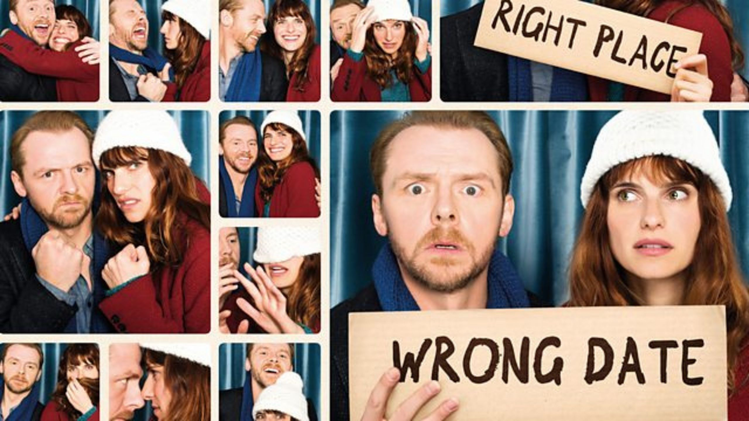 Montage of images of a couple in a photo booth holding signs that say 'Wrong Date' and 'Right Place'
