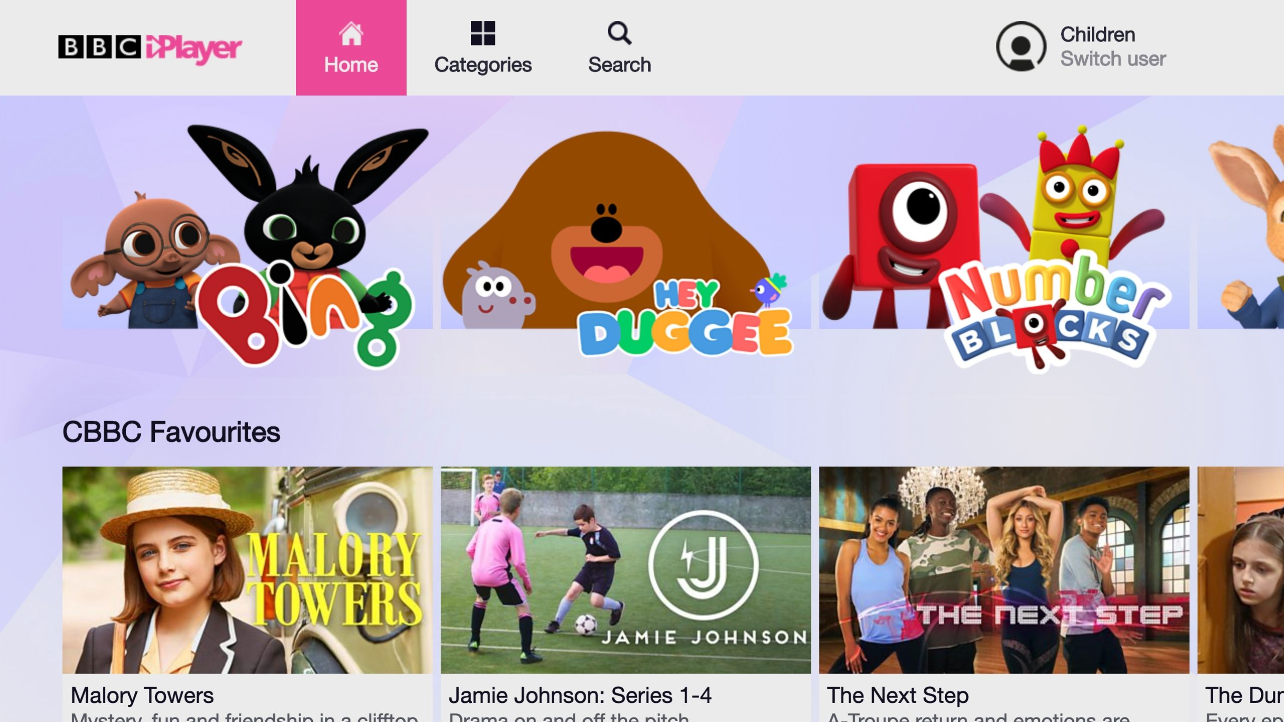 Childrens mode on BBC iPlayer, light purple background with a carousel of kids content to choose from