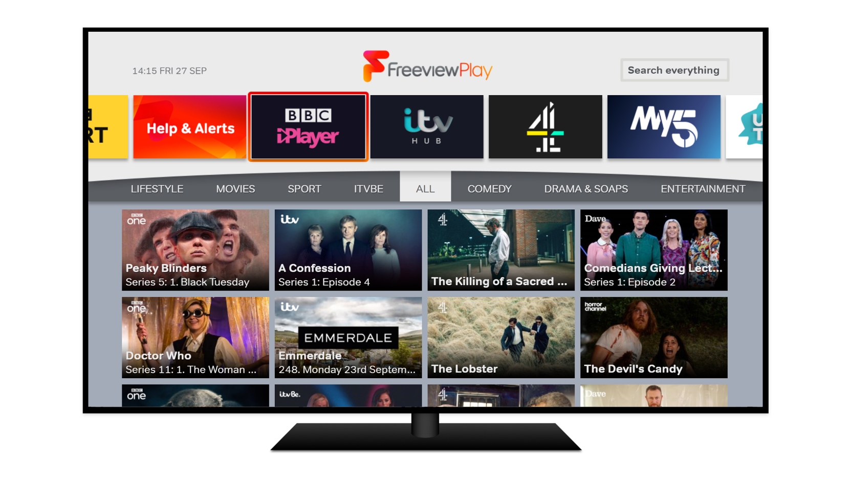 TV showing the Explore Freeview Play interface, which pulls together all the content from BBC iPlayer, ITV Hub, All4, My5, UKTV Play, and the CBS Players in one place