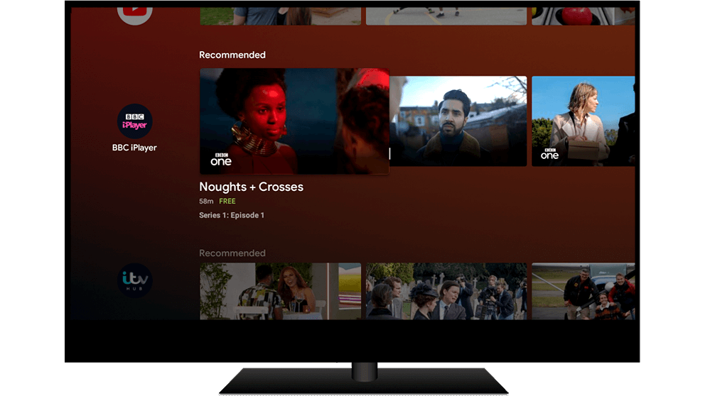 Android TV showing content recommendations on BBC iPlayer