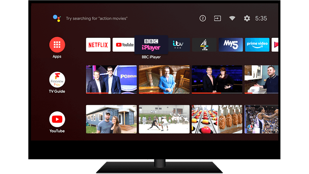 Android TV displaying all of its catch up players