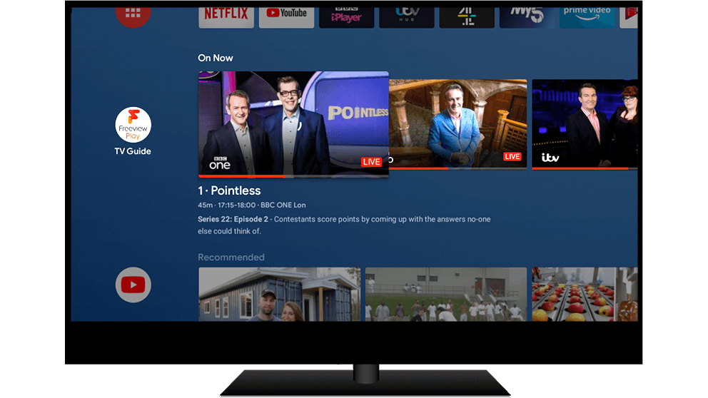 Android TV showing whats on now on the live programme guide