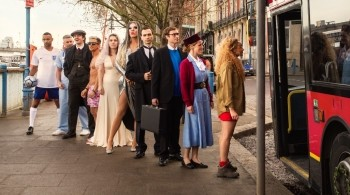 TV characters queuing for a bus