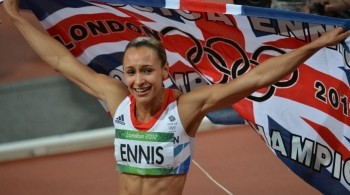 Jessica Ennis waving the UK flag at London 2012 Olympics