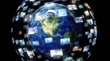 Abstract of the Planet Earth superimposed with TV screens