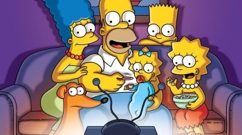 The Simpsons family watching TV