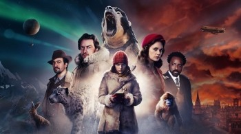 Promo image from His Dark Materials showing all the cast, with half the background showing the snowy North Pole and the Northern Lights and another half showing the city of Oxford under a red sky