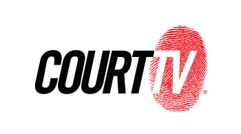 Logo of Court TV with a red fingerprint behind it