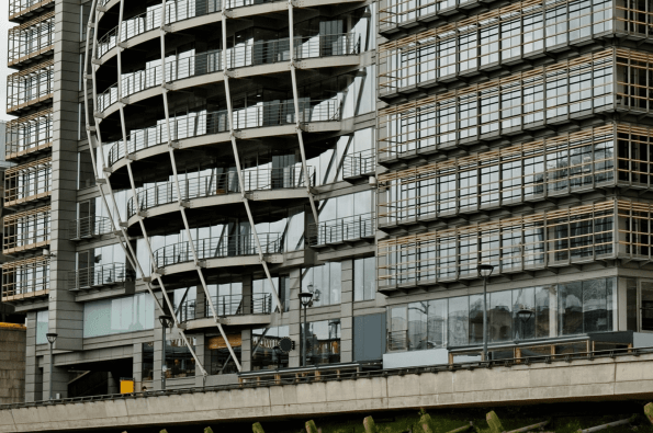 Close up shot of Ofcom HQ by Southwark Bridge, London