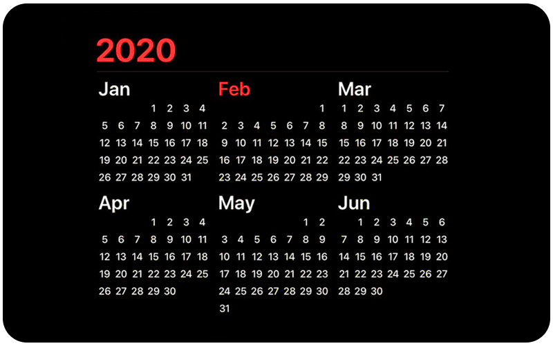 2020 Calendar displaying January to June