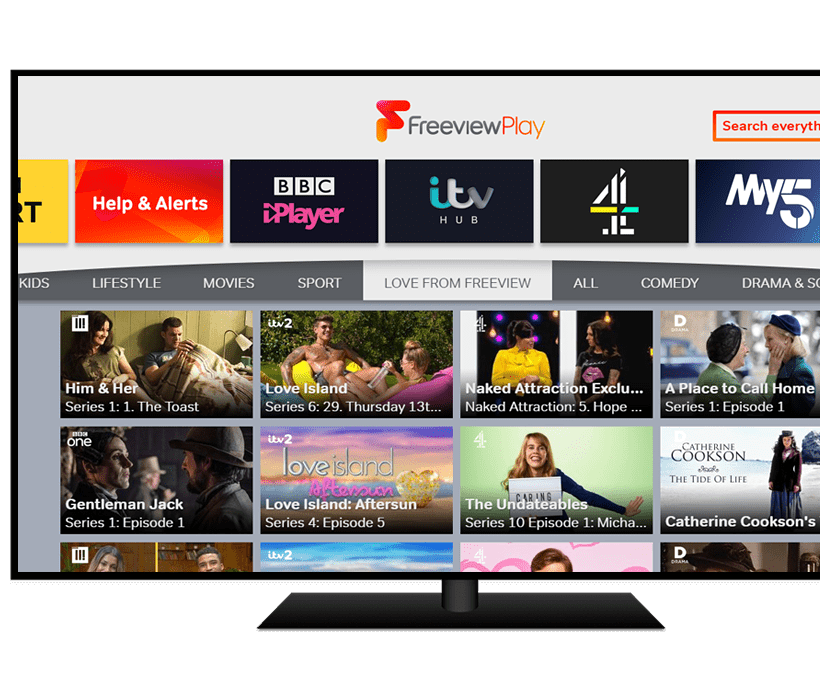 TV monitor displaying Freeview Play
