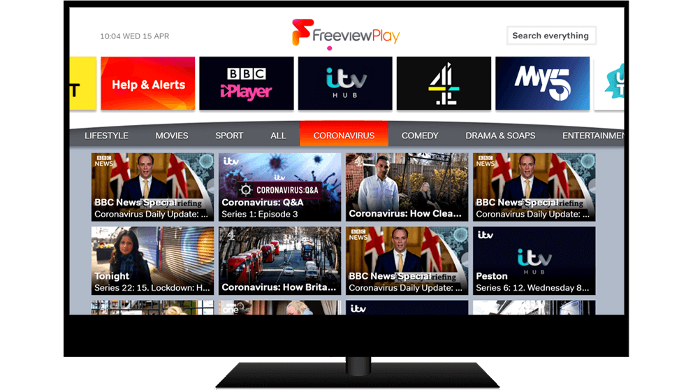 Explore Freeview Play displayed on TV screen with COVID-19 genre
